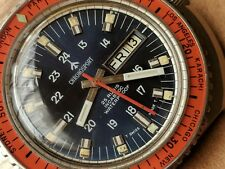 Vintage Chronosport World Time Day-Date Divers Watch w/Blue Dial,Massive SS Case