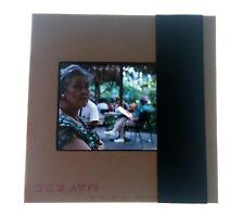 1963 Kodak Kodachrome 35mm Film Slide of Woman Wife at Outdoor Cafe in Hawaii