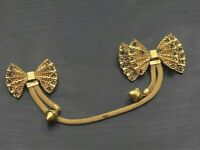 Vintage Gold Tone Rhinestone Double Bow Clip Sweater Guard Brooch Pin b5