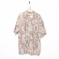 Vintage Abstract Short Sleeve Hawaiian Festival Shirt Brown | XXL