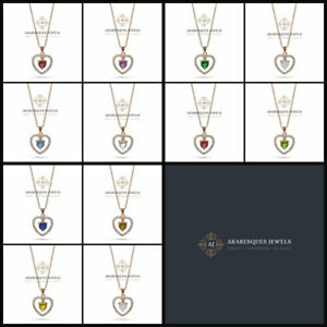 STUNNING FLOATING HEART BIRTHSTONE NECKLACE PENDANT. STERLING SILVER/ROSE GOLD