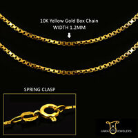 """New Mens Womens 10K Yellow Gold 1.2mm Box Chain Necklace 16""""-24"""" Inches"""
