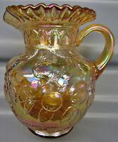 Modern Fenton APPLE TREE Marigold Carnival Glass Crimped-Rim Water Pitcher 6742