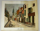 Beautiful Vintage Canvas Litho Reprint D.A.C. Eglise de Strins - Maurice Utrillo
