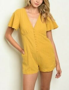 NEW DEE ELLY S MUSTARD YELLOW V-NECK LOW CUT BUTTON SHORTIE CREPE LINED ROMPER