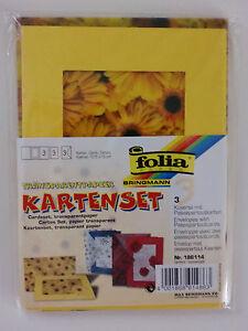 folia Kartenset 3 Passepartoutkarten + 3 Umschläge Sonnenblumen gelb transparent