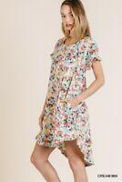 Umgee Floral Print Short Sleeve High Low Hem Dress