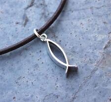 Christian Fish Anklet or Bracelet -leather & sterling silver - Men/Women's sizes