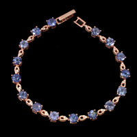 Unheated Round Blue Tanzanite 5mm Natural Cz 925 Sterling Silver Bracelet 7.5in.