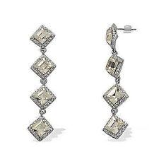 Glamourous White Glass/White Austrian Crystal Drop/Dangle Earrings - Silvertone