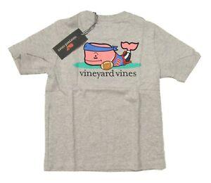 Vineyard Vines Boys Grey Heather Flag Football Whale Graphic S/S Pocket T-Shirt