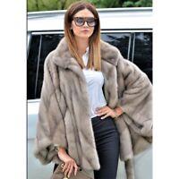 Luxury Women's 100% Real Full Pelt Mink Fur Coats Jacket Belted Bat-Sleeved Cape