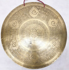 "F1056 Very Artistic Large Tibetan-Nepalese Hand Etched Temple Gong 19.65"" Nepal"