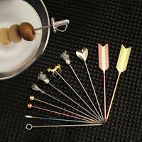 Stainless Steel Fruit Sticks Bar Drink Stirring Sticks Martini Picks Accessory a
