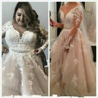 Arabic Plus Size Long Sleeve Wedding Dresses Vintage Appliques Lace Bridal Gowns