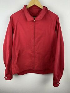 Nordstrom Mens Harrington Bomber Jacket Size L Full Zip Collar Lined Red