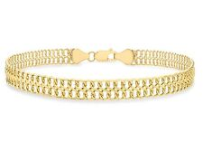9ct Yellow Gold Figure 8 Double Curb Chain Bracelet 19cm / 7.5 inch