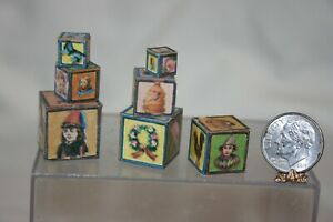 Miniature Dollhouse 7 Wood Victorian Childrens Play Picture Blocks 1:12 NR