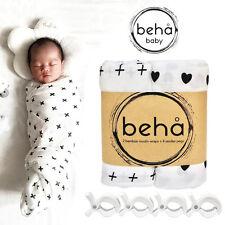 2 Bamboo Wraps + 4 Stroller/Pram Pegs Set. Organic baby swaddle blanket muslin.