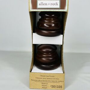 "Allen + Roth Wood Cap Finials Walnut #301335 Fits 1-3/8"" or 1-3/4"" Rod NEW"