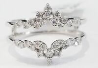 10k White Gold Finish Round Diamonds Solitaire Enhancer Wedding Guard Wrap Ring