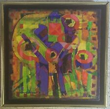 Vtg 70s Colorful Abstract Modernist Painting Retro Mid Century Art Wall Hanging