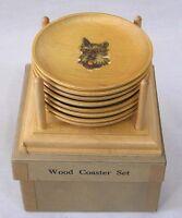 Vintage Wood Coaster Set and Rack in OB DOG Breeds 1940s