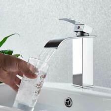 Chrome Waterfall Spout Bathroom Sink Vessel Faucet Basin Mixer Tap Single Hole