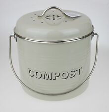 Vintage Style Gloss Olive Retro Compost Tin Bin Pail Canister Kitchen Composter