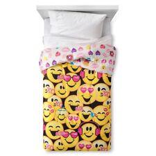 NEW EmojiNation Happy Emoji Yellow Girl 4Pc Reversible Comforter &Sheet Set TWIN