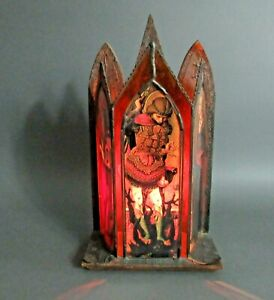 Renaissance Medieval Gothic Style Wood & Leaded Glass Candle Light Sconce