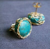 Fashion Women 18K Gold Plated Turquoise Ear Stud Earrings Bride Wedding Jewelry