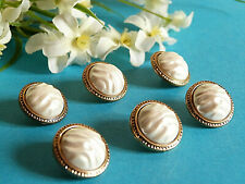 "1149/Chequerboard Buttons "" Pearl Baroque "" Pearlescent White Edge Golden Lot 6"