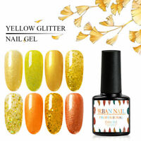 7ml RBAN NAIL Soak Off UV Gel Nail Polish Yellow Color Glitter Gel Varnish Salon