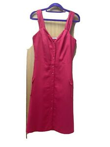 Ladies Red Lined Pinafore Dress From Tu UK 10 62% Linen