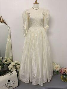 Gianni Balenti Wedding Dress UK 10 Cream Vintage Style Lace Detail Bodice #2064