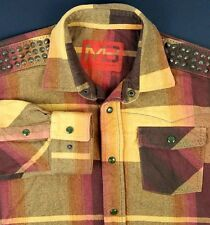 Marc Buchanan Long Sleeve Shirt Size XL Gold Plaid Pearl Snaps & Shoulder Studs