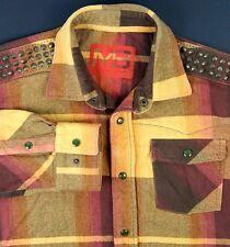 Marc Buchanan Long Sleeve Shirt Gold Plaid Pearl Snaps & Shoulder Studs Size XL