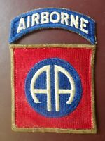 WWII 82nd Airborne Division Patch Tab Parachute Military OD Border Rare SSI
