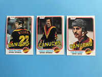 1981-82 VANCOUVER CANUCKS O-PEE-CHEE Hockey Card Lot -SNEPSTS WILLIAMS BOLDIREV