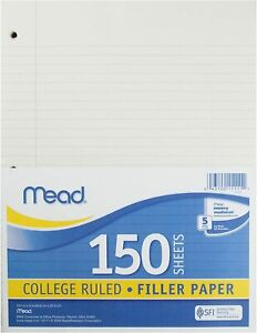 """Mead Loose Leaf Paper College Ruled 200 Sheets 10-1/2"""" x 8"""" Lined Filler"""