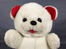 "Vintage White Teddy Bear Plush RARE American Wego Red Satin Hearts 10"""