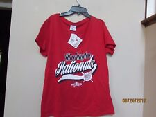 New women's size L WASHINGTON NATIONALS BASEBALL V-Neck Red T-shirt 100% Cotton