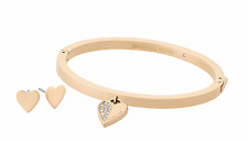 Michael Kors Gold Tone Heart Bangle Bracelet and Earrings Set With MK Gift Box