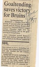 Dave Pasin Signed / Autographed Hockey Newspaper Scoring Article Boston Bruins