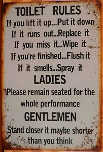 TOILET RULES Rustic Metal Sign Vintage Tin Shed Garage Bar Man Cave Wall Plaques
