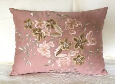 Embroidered Throw Pillow 14x20 Floral Dusty Pink & Green Zip Closure New