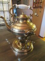 Rare Vintage Brass Tea Kettle * Sterno Heated * Tipping * Porcelain Handle * 13""