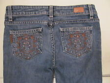 PAIGE PREMIUM DENIM LAUREL CANYON boot cut stretchy embroidered pockets jeans 25