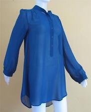 100% Silk ChiffonTunic w/  Madrin Collar in Indigo Blue M by Marcus Sz L Large